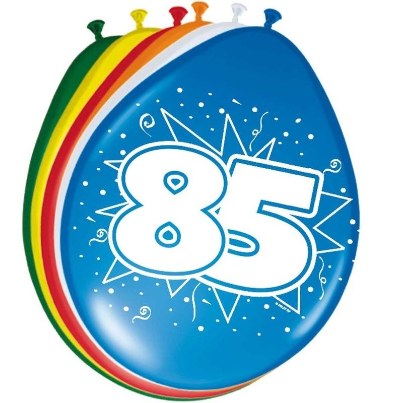 16x stuks Leeftijd ballonnen versiering 85 jaar 30 cm Multi