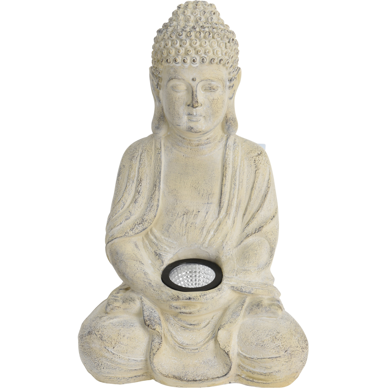 1x Boeddha beeld creme met solar verlichting 33 cm - Tuinbeelden