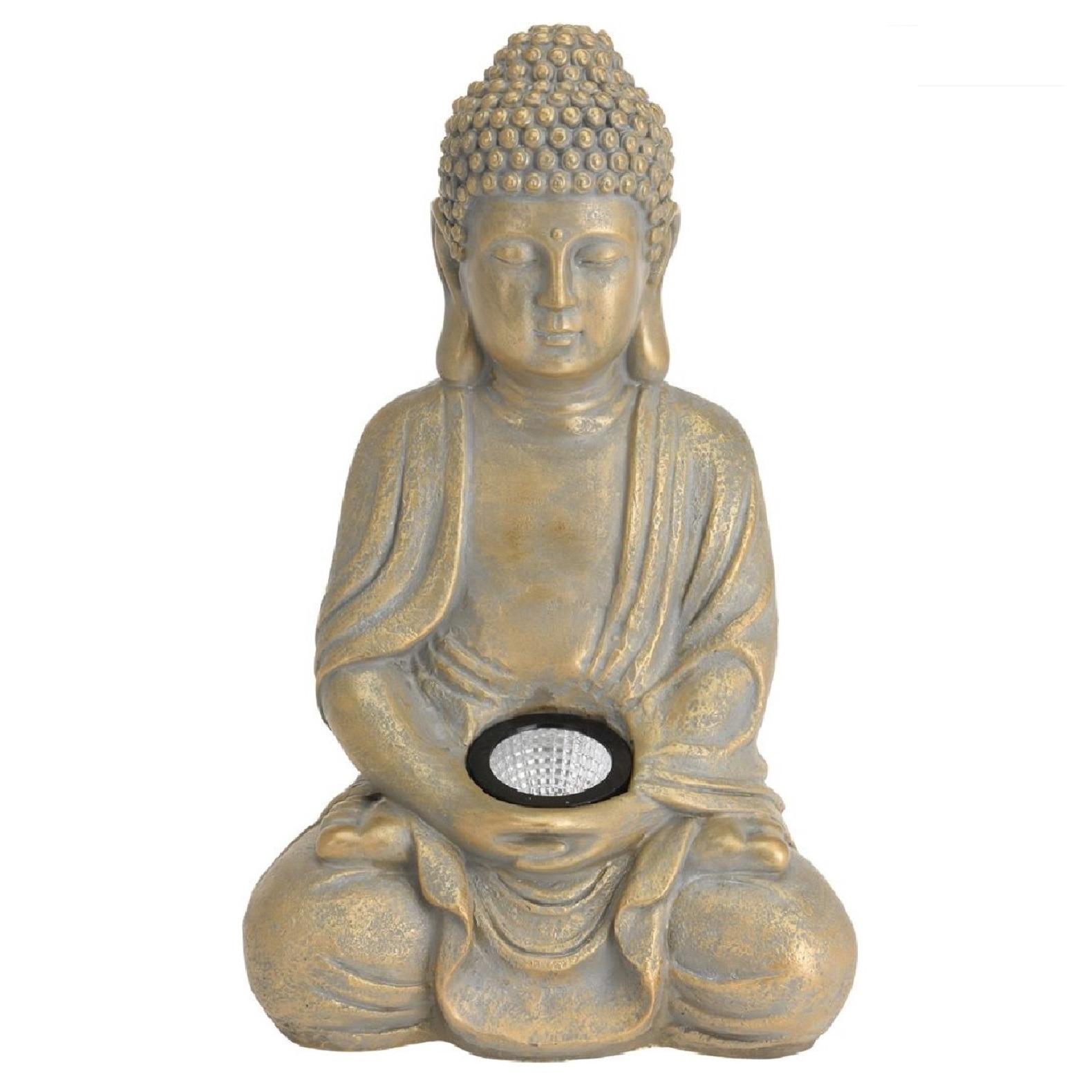 1x Boeddha beeld goud met solar verlichting 33 cm - Tuinbeelden
