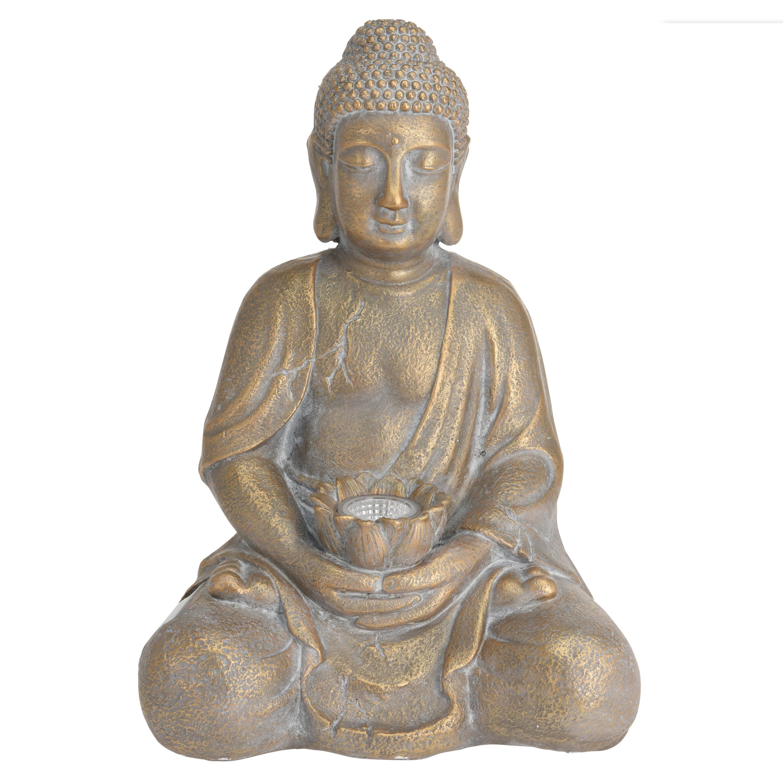 1x Boeddha beeld goud met solar verlichting 44 cm - Tuinbeelden