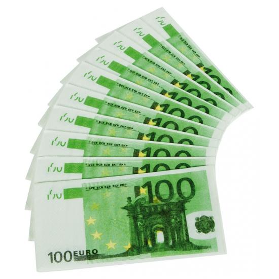 20 x 100 euro feest servetten geld -