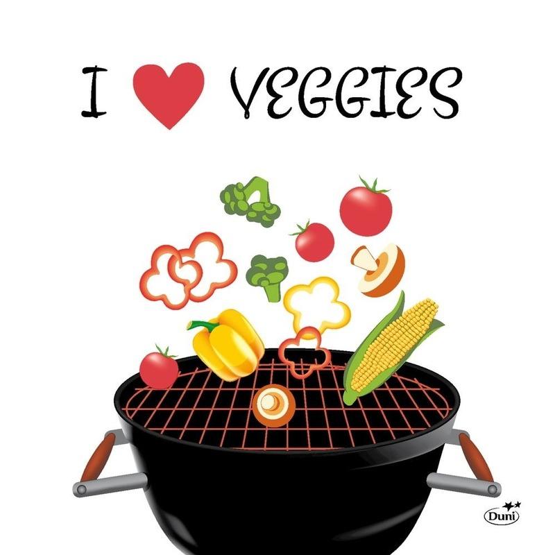 20x Bbq decoratie servetten 33 x 33 cm I love veggies bbq print - Feestservetten
