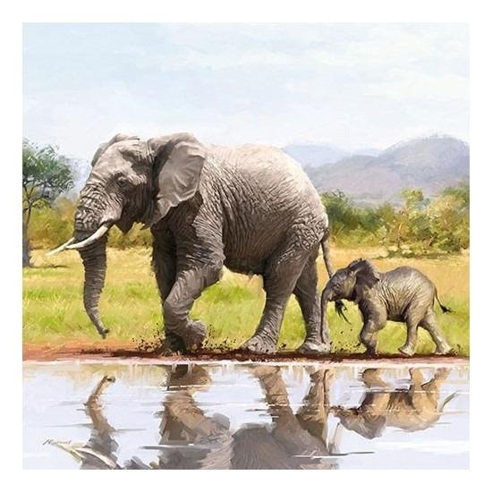 20x Feest servetten olifanten 33 x 33 cm - Feestservetten