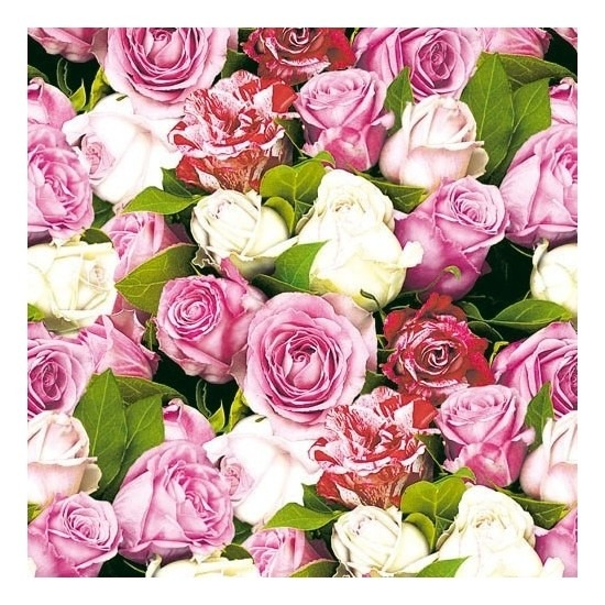 20x Feest servetten rozen 33 x 33 cm -