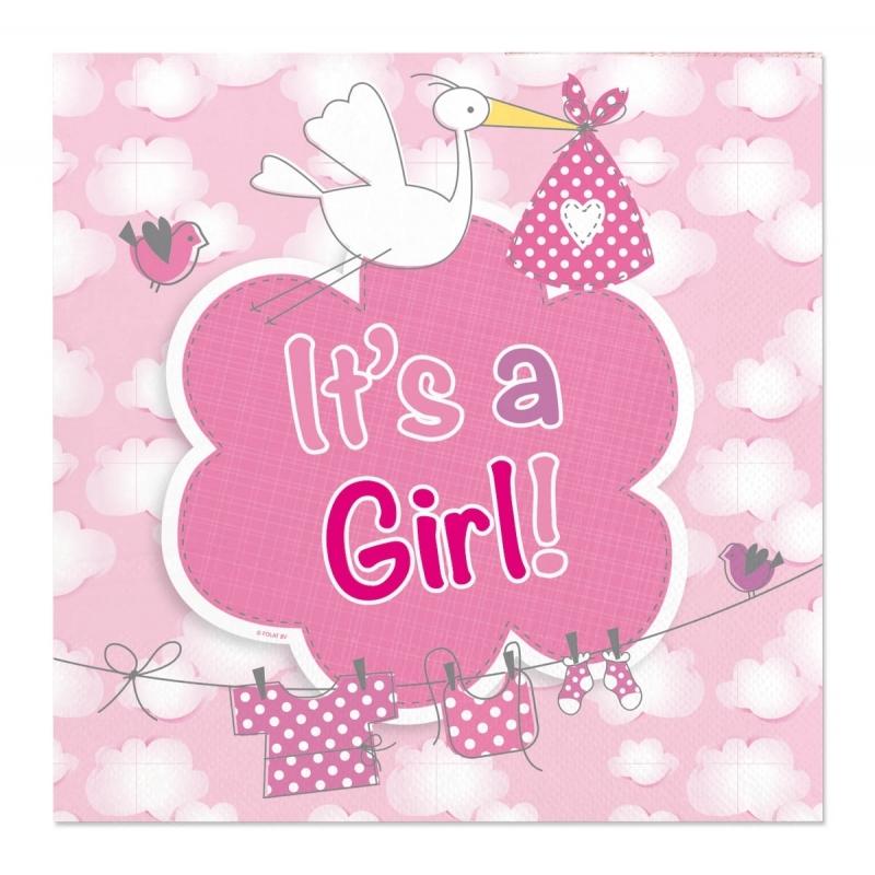 20x Feestdecoratie servetten 25 x 25 cm roze geboorte meisje print -