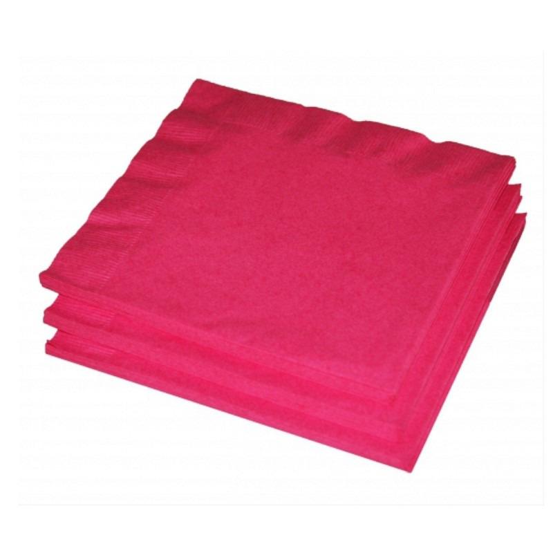 20x Papieren feest servetten fuchsia -