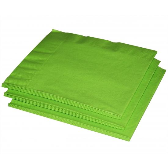 20x Papieren feest servetten limegroen -