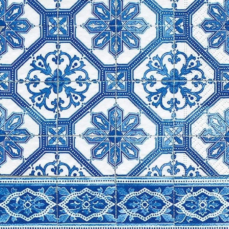 20x Papieren servetten met Portugees blauw tegelprint -
