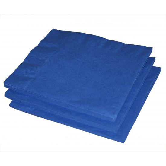 20x stuks papieren feest servetten blauw 33 x 33 cm - Feestservetten
