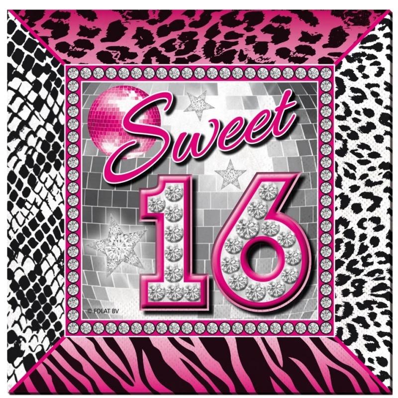 20x Sweet 16 servetten 25 x 25 cm geboortefeestje -