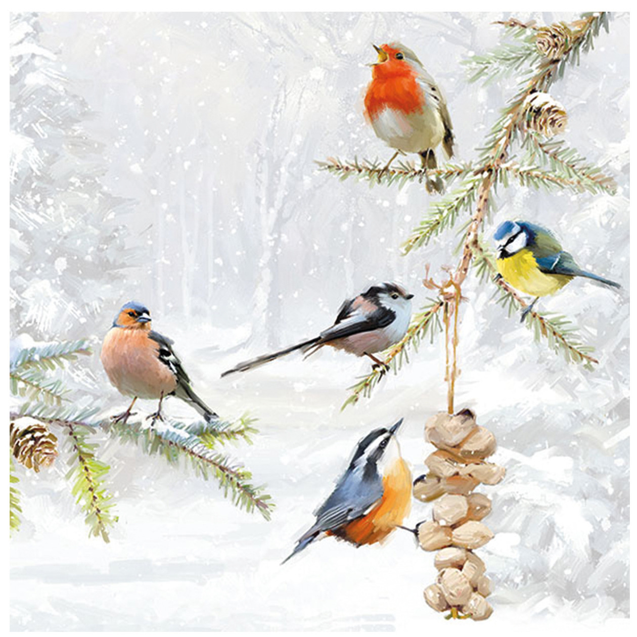 20x Tafel diner/lunch servetten 33 x 33 cm tuinvogels print -