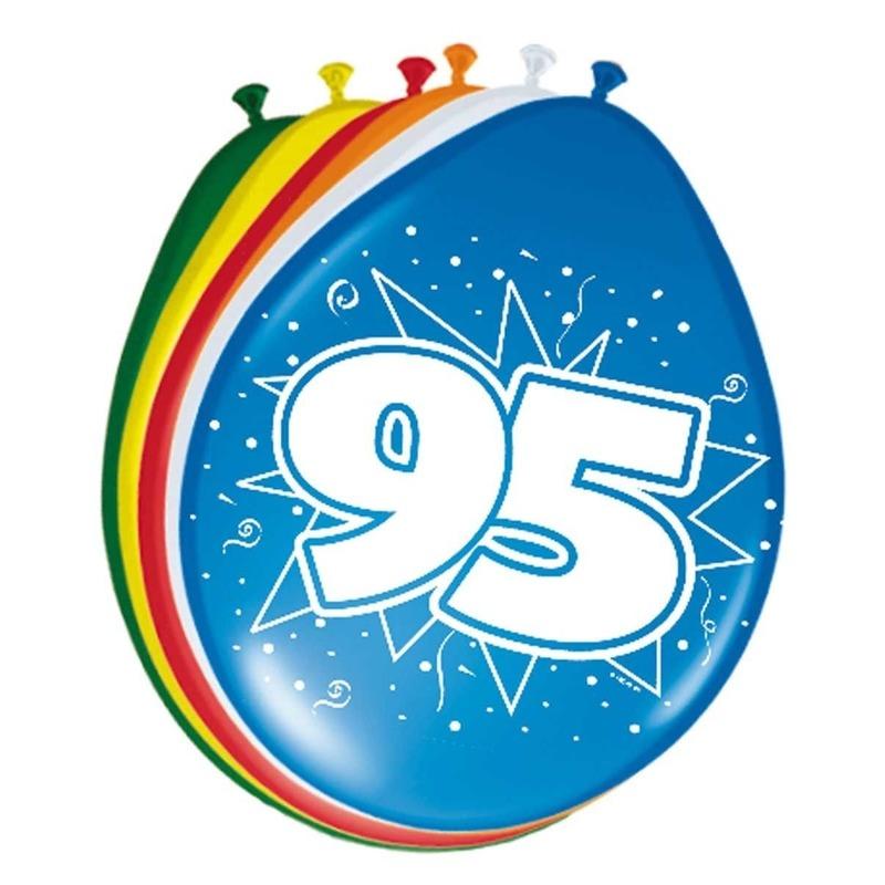 24x stuks Leeftijd ballonnen versiering 95 jaar 30 cm Multi