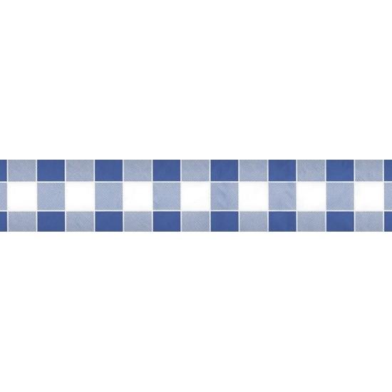 2x Blauw/witte ruitjes thema versiering papieren tafelkleed 1000 x 118 cm Blauw