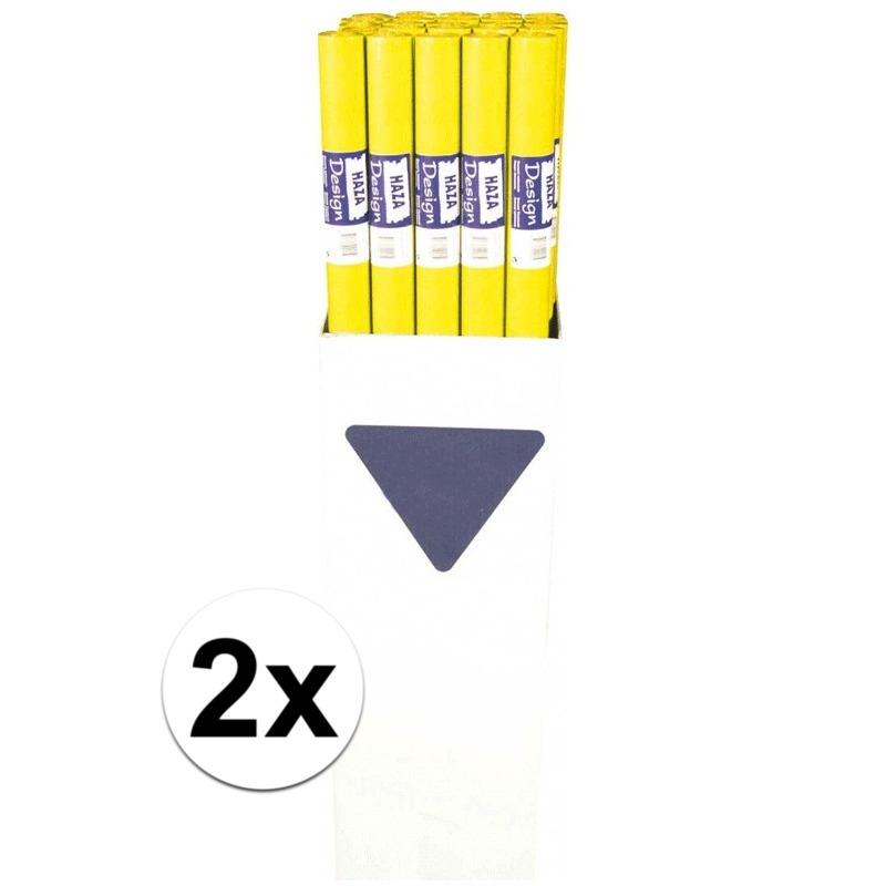 2x Geel tafelkleed 800 x 118cm van papier Geel
