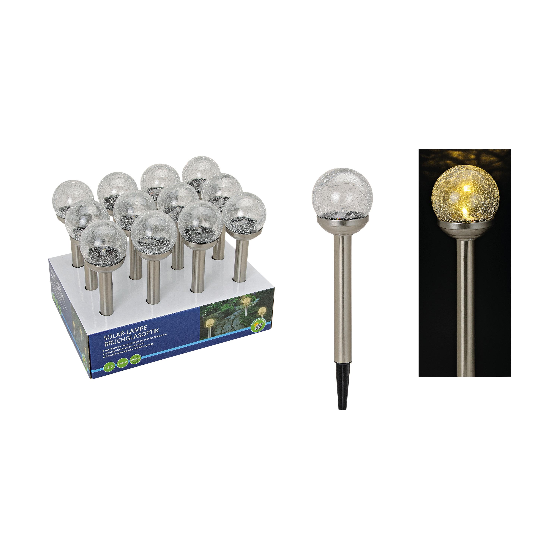 2x stuks buitenlamp/tuinlamp bolvormig LED solar 38 cm - Fakkels