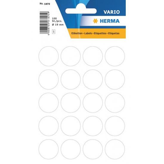 2x velletjes stippen stickers wit 19 mm 2x 100 stuks Wit