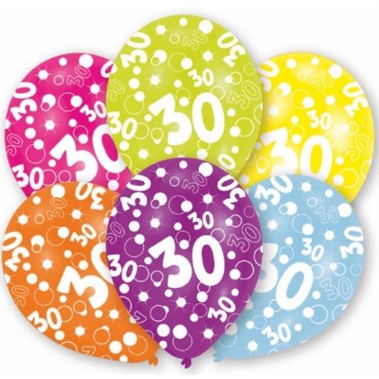 Betere Feest ballonnen kleuren 30 jaar verjaardag 6 stuks   Fun en Feest NK-01