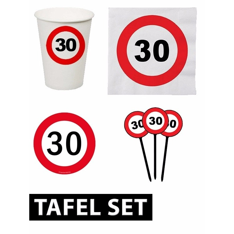 30 jaar verjaardag tafel versiering set stopbord Multi