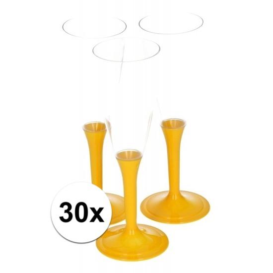 30x Plastic gele champagne glazen - Champagneglazen