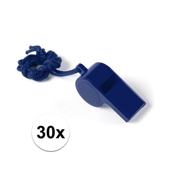 30x Voordelig plastic fluitje blauw