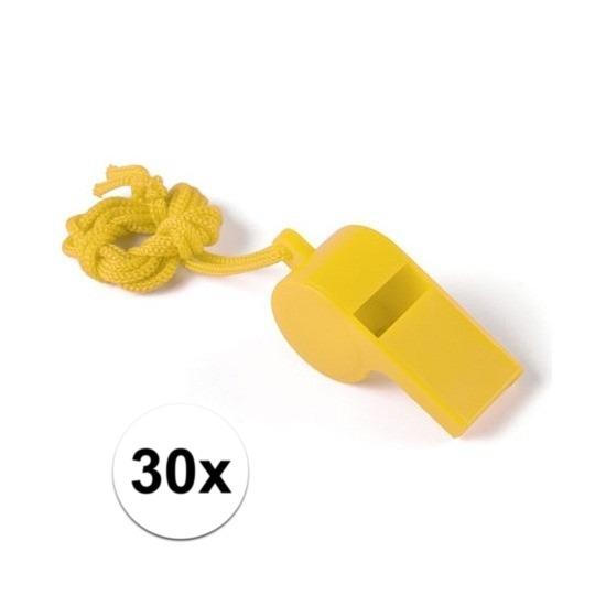 30x Voordelig plastic fluitje geel