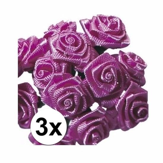 36 Donkerroze roosjes van satijn 12 cm