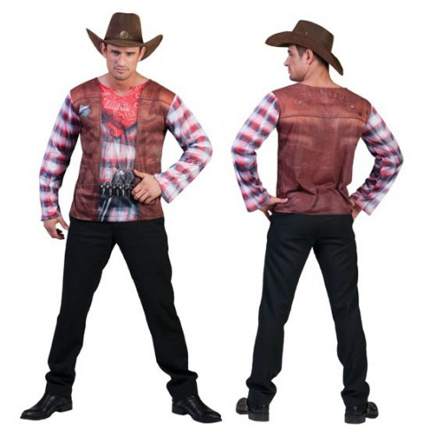 3D Cowboy shirt voor heren 56 (L) Multi