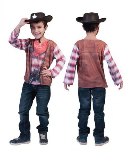 3D Cowboy shirt voor kinderen 6-7 jaar (128) Multi
