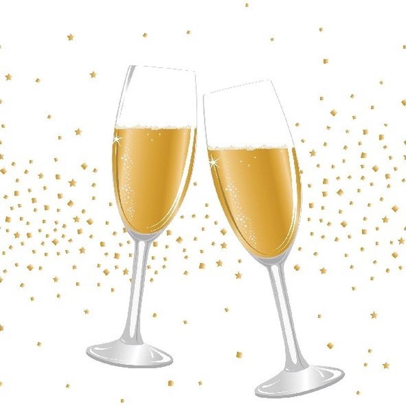 40x Feest servetten bruiloft/trouwerij/huwelijk 33 x 33 cm champagne print