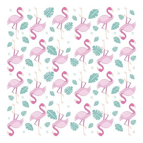 40x Feest servetten Flamingo 33 x 33 cm Multi
