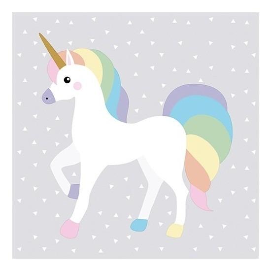 40x Feest servetten regenboog eenhoorn 33 x 33 cm -