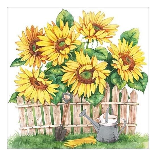 40x Feest servetten zonnebloemen 33 x 33 cm -