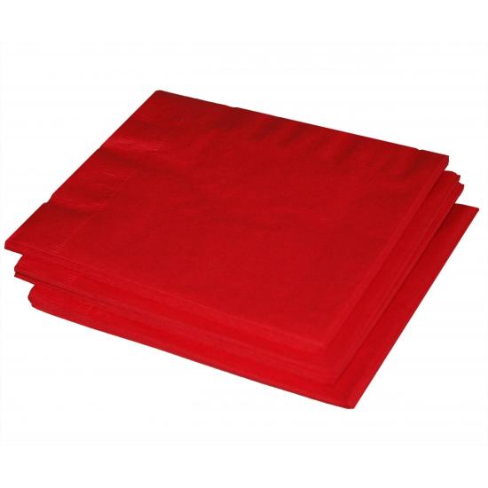 40x Papieren feest servetten rood Rood