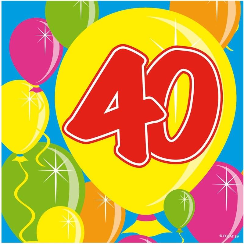 40x Veertig/40 jaar feest servetten Balloons 25 x 25 cm verjaardag/jubileum -