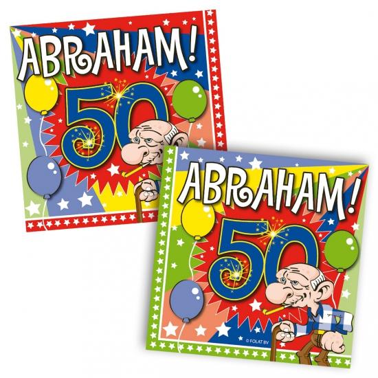 40x Vijftig/50 jaar Abraham feest servetten ballonnen 25 x 25 cm verjaardag/jubi