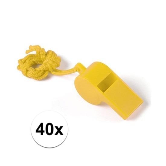 40x Voordelig plastic fluitje geel