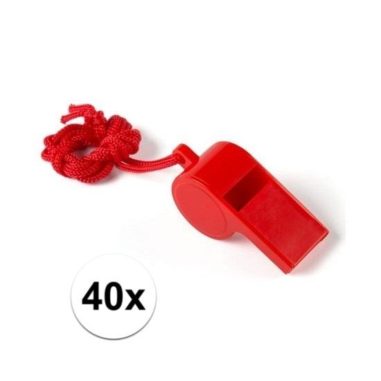 40x Voordelig plastic fluitje rood