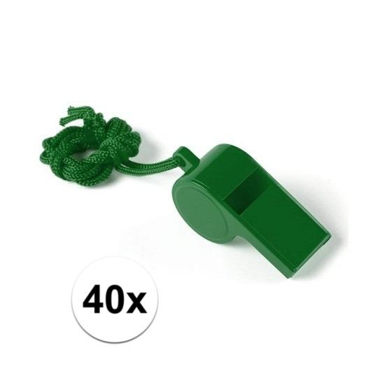 40x Voordelig scheidsrechter fluitje groen