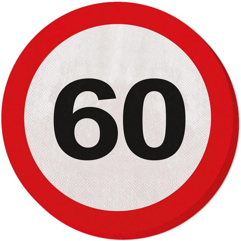 40x Zestig/60 jaar feest servetten verkeersbord 33 cm rond verjaardag/jubileum -