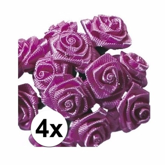 48 Donkerroze roosjes van satijn 12 cm
