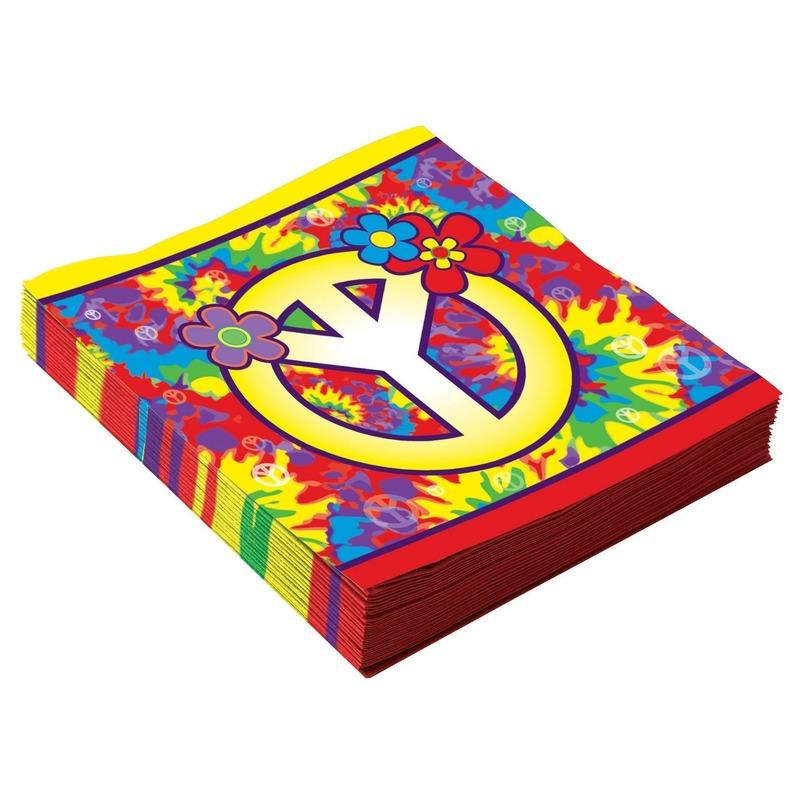 48x Hippie thema servetten van 33 x 33 cm Multi