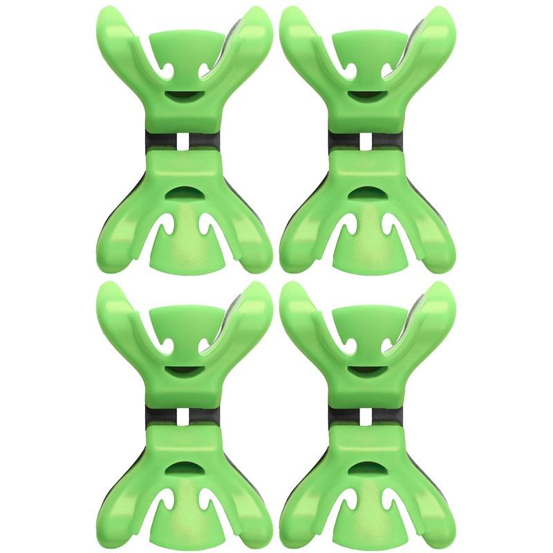 4x slingers/decoratie ophangen slingerklemmen groen. set van vier slingerklemmen van kunststof met rvs. met ...