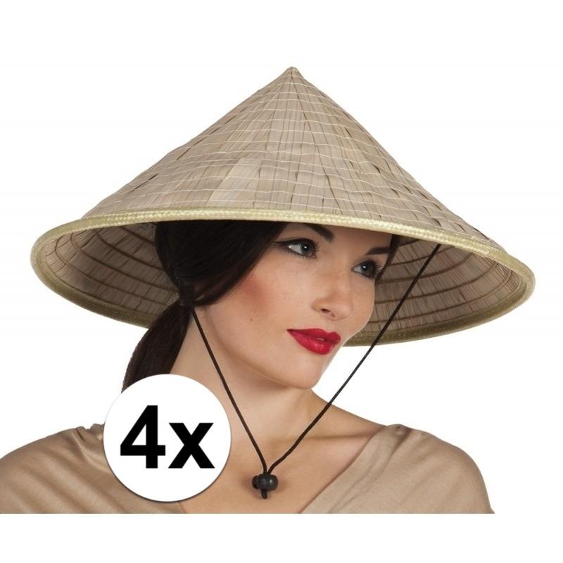4x Japanse/Aziatische stro hoeden Beige