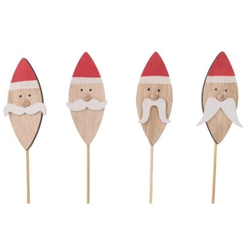 4x Kerststukje instekertjes met kerstmannen 38 cm