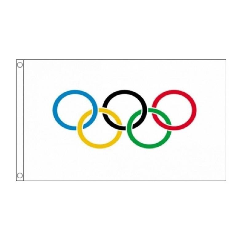 4x Olympische spelen vlaggen