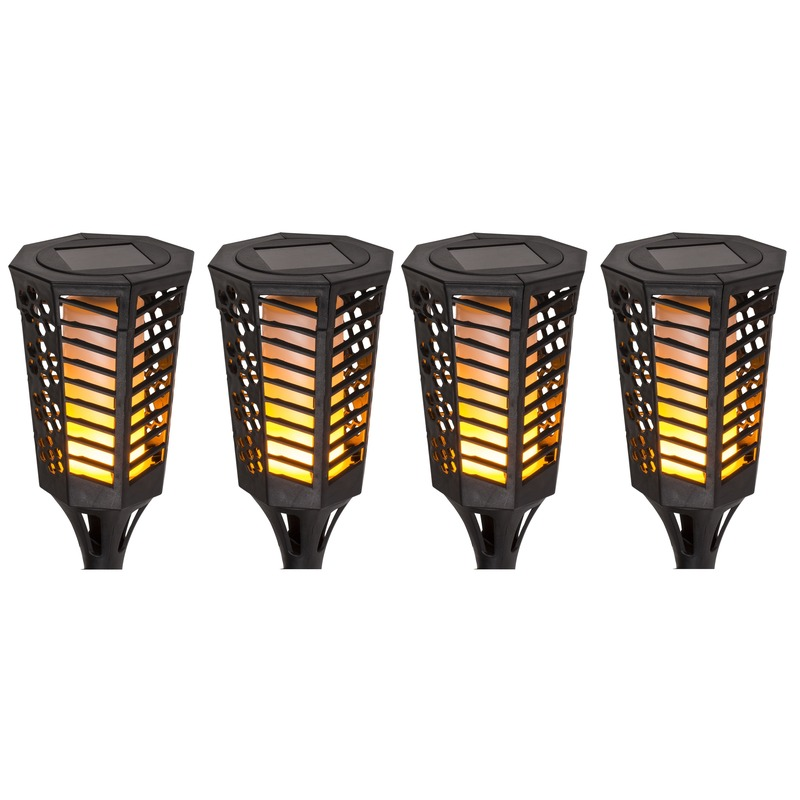4x Zwarte tuinfakkels zonne-energie 77 cm - Fakkels