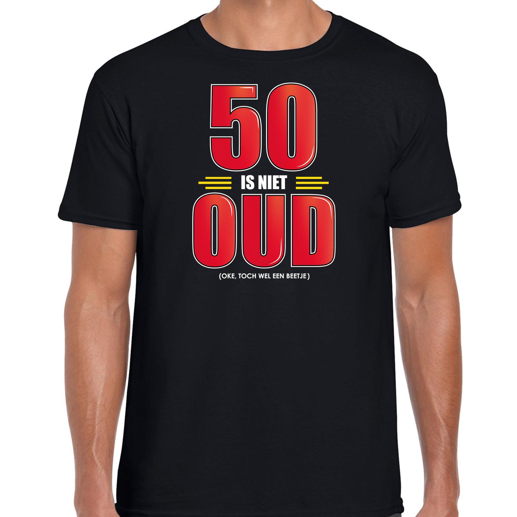 50 is niet oud verjaardag kado shirt / Abraham zwart voor heren 50 jaar S -