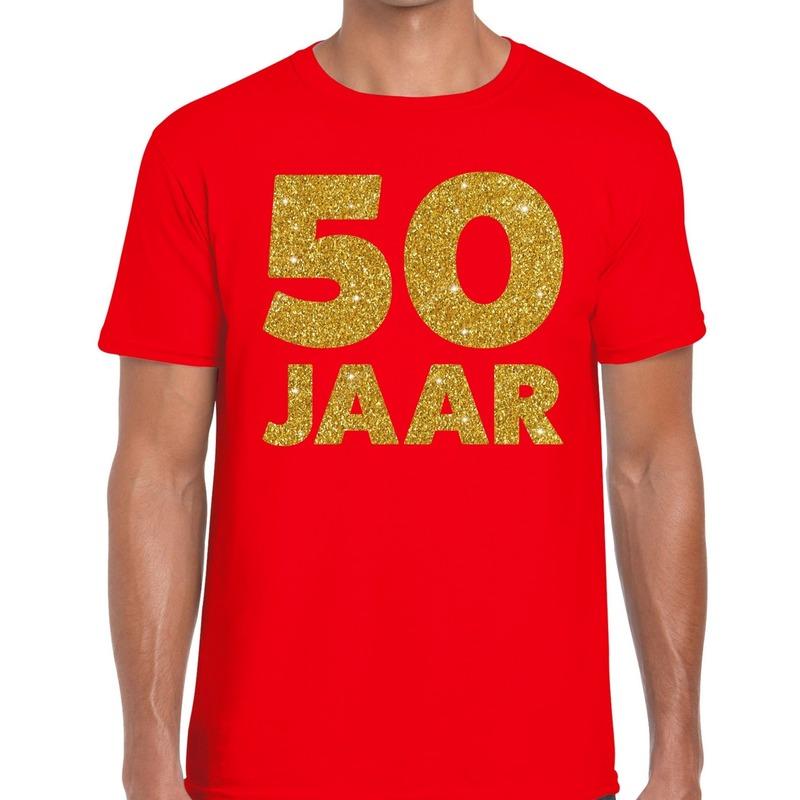50 Jaar fun jubileum verjaardag shirt rood voor heren L - Feestshirts