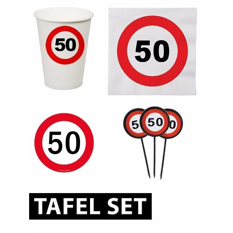 50 jaar verjaardag tafel versiering set stopbord Multi