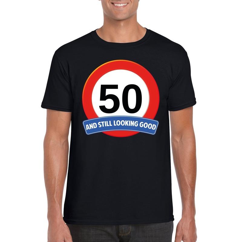 50 jaar verkeersbord t-shirt zwart heren S Zwart